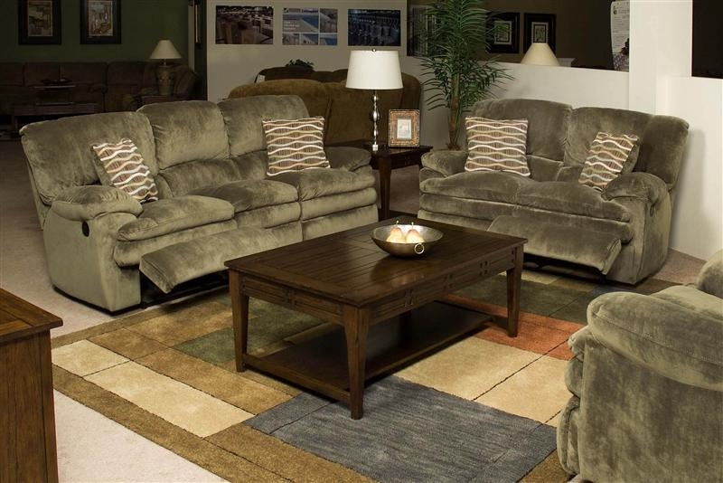 Easton 2 Piece Reclining Sofa & Loveseat Set In Sage Fabric Within Reclining Sofas And Loveseats Sets (Image 9 of 20)