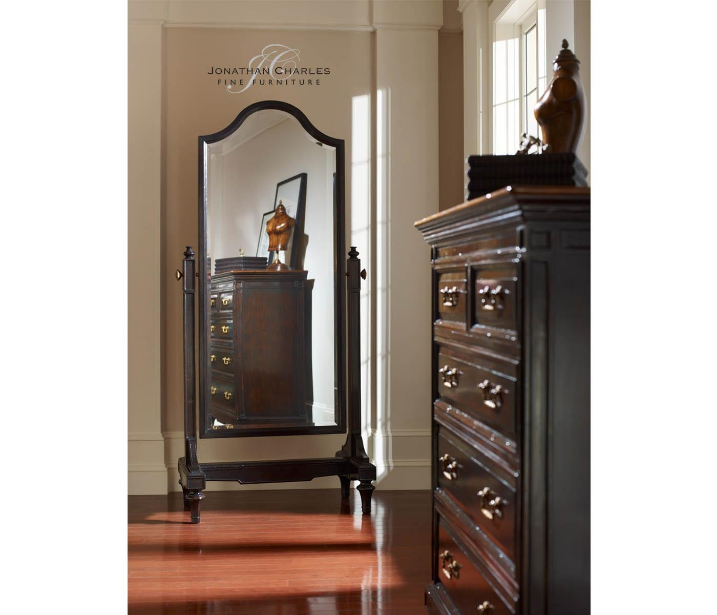 Ebonised Cheval Mirror (Full Length) Throughout Full Length Cheval Mirror (Image 11 of 20)