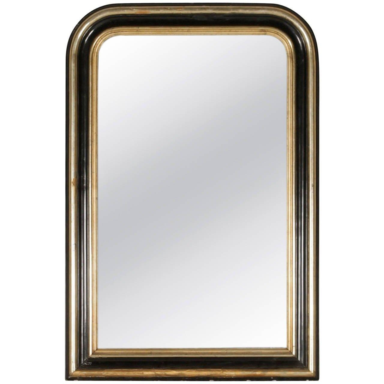 Ebonized And Silver Gilt Louis Philippe Mirror With Molded Frame Pertaining To Silver Gilt Mirror (Image 7 of 20)