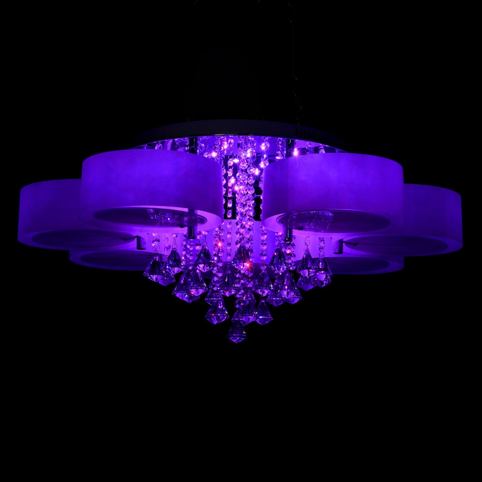 Ecolight Rgb Modern Chandelier Crystal With Remote Control 7 For 7 Light Chandeliers (Image 4 of 25)