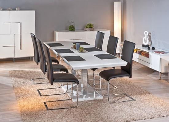 Edmonton Extendable White Gloss Dining Table With 8 With Regard To Edmonton Dining Tables (Image 13 of 20)