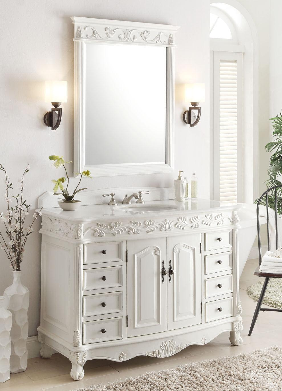 Elegant Antique White Bathroom Vanity Mirrors 82 For Your With In White Antique Mirrors (Image 14 of 20)