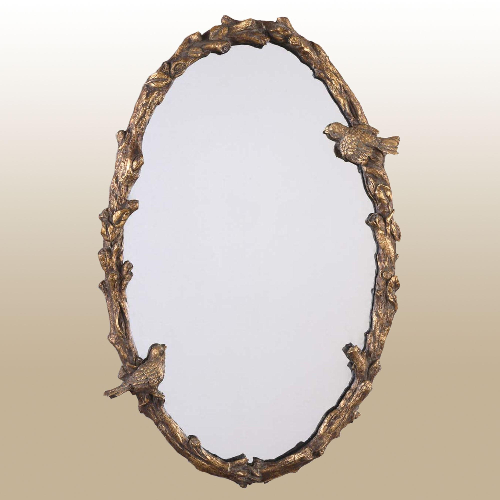 Elegant Birds Oval Wall Mirror Regarding Gold Wall Mirrors (Image 5 of 20)