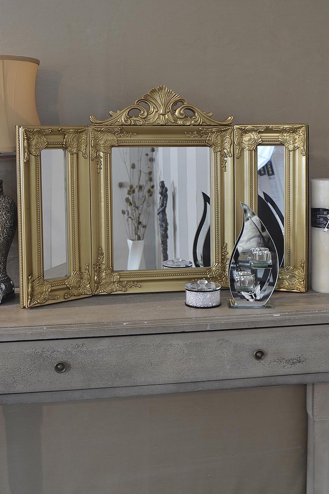Elegant Gold Antique Style Design Free Standing Dressing Table Regarding Gold Dressing Table Mirror (Image 10 of 20)
