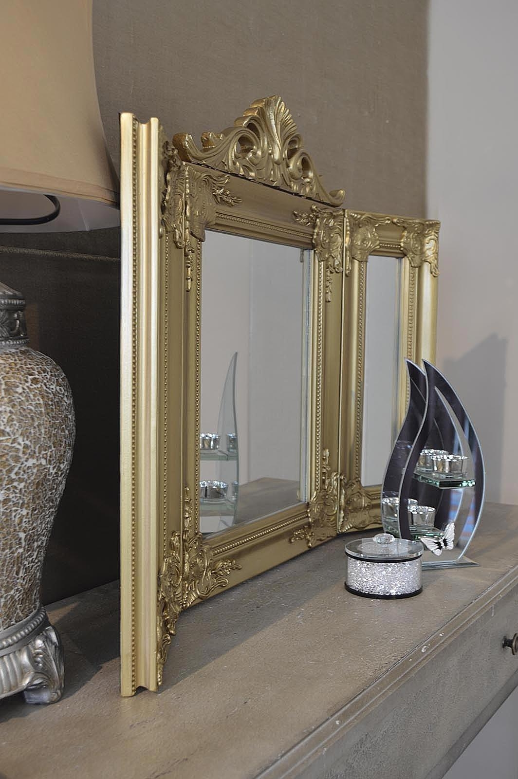 Elegant Gold Antique Style Design Free Standing Dressing Table With Gold Dressing Table Mirror (View 4 of 20)