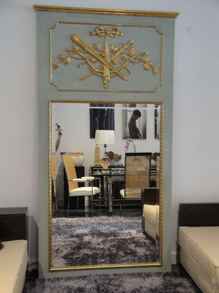 Elegant Handcarved French Style Parcel Gilt Floor Mirror Trumeau Inside French Floor Mirror (Image 8 of 20)