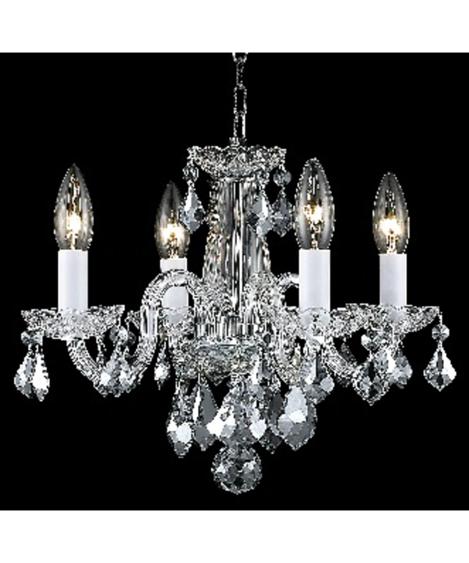 Elegant Lighting 7804d15 Rococo 15 Inch Wide 4 Light Mini Pertaining To Mini Crystal Chandeliers (View 22 of 25)