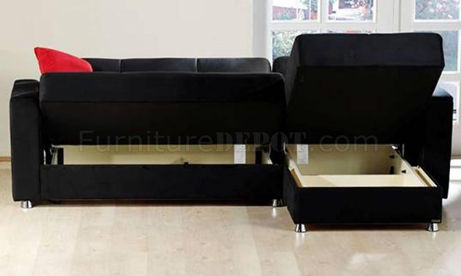 Elegant Rainbow Storage Sectional Sofa In Blacksunset Intended For Black Microfiber Sectional Sofas (Image 12 of 20)