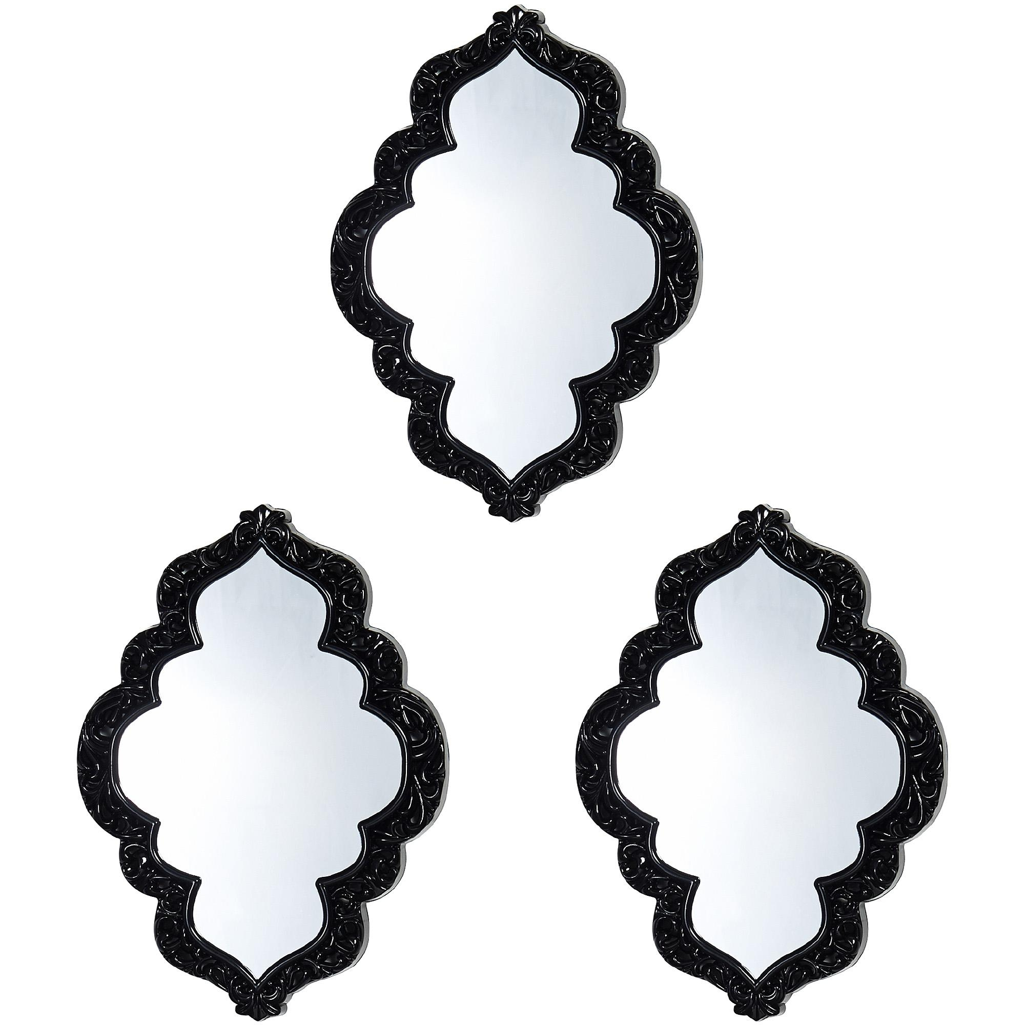 "Elements Black Sweetheart Wall Mirrors, Set Of 3, 12"" – Walmart For Baroque Black Mirror (Image 11 of 20)"