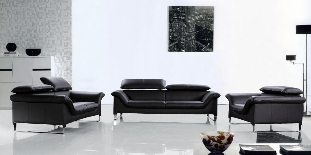 Elite Contemporary Black Leather Sofa Set Anaheim California V Elite Intended For Contemporary Black Leather Sofas (View 7 of 20)