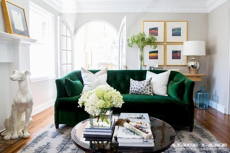 Emerald Green Velvet Living Room Sofa Design Ideas Within Emerald Green Sofas (Image 12 of 20)