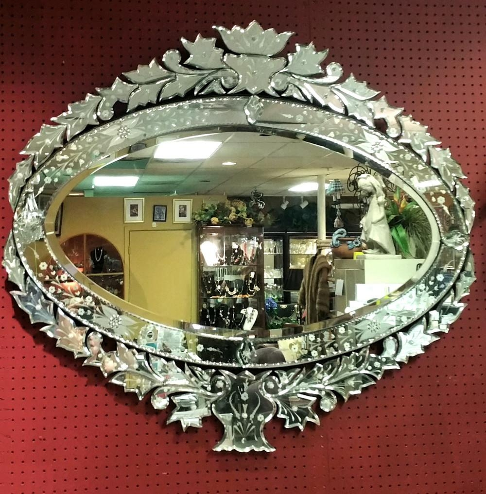 Encore Furniture Gallery Large Oval Horizontal Venetian Glass Mirror With Venetian Oval Mirror (Image 9 of 20)