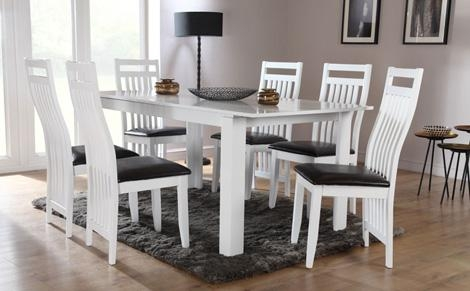 Endearing White Extending Dining Table And Chairs White High Gloss Regarding White Dining Tables With 6 Chairs (View 10 of 20)