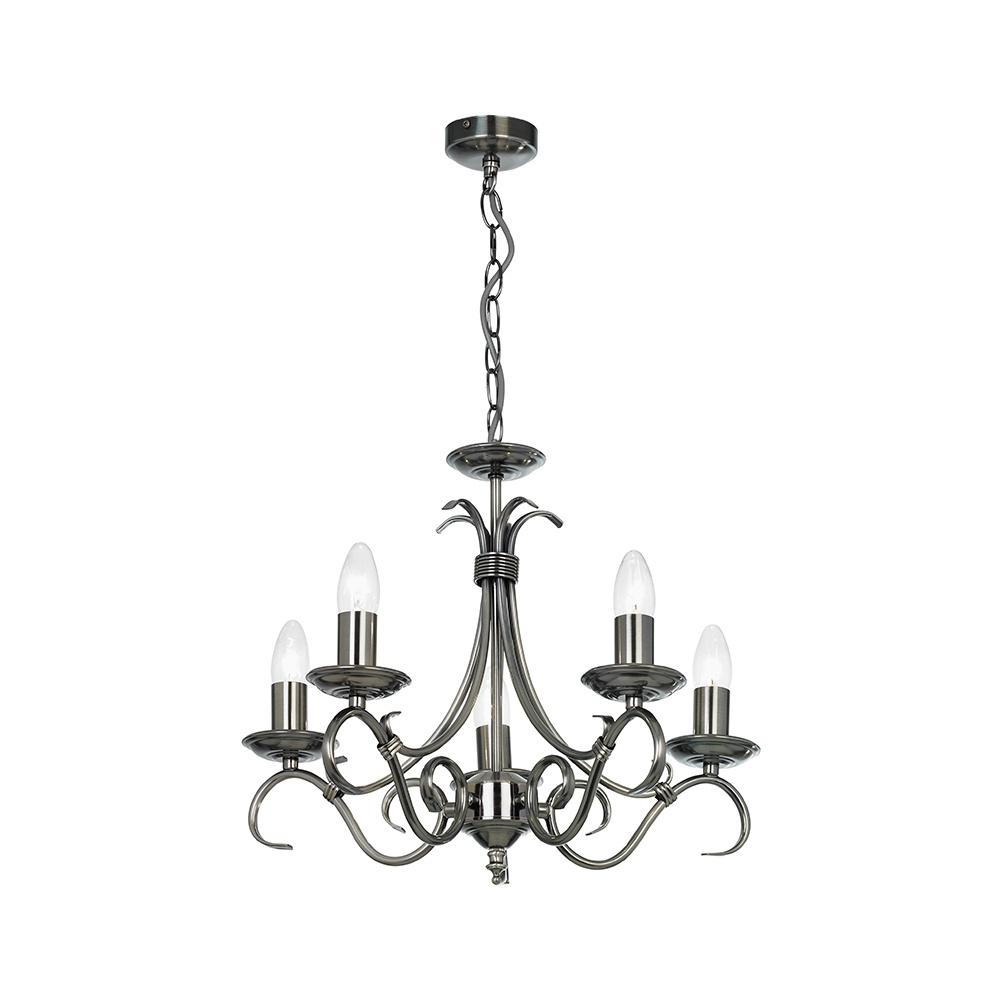 Endon 2030 5as 5 Light Chandelier In Antique Silver Lighting In Endon Lighting Chandeliers (Image 4 of 25)