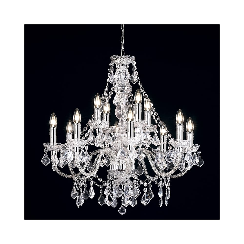 Endon 308 84cl 12 Light Chandelier Ceiling Pendant Clear Acrylic Intended For Endon Lighting Chandeliers (Image 5 of 25)