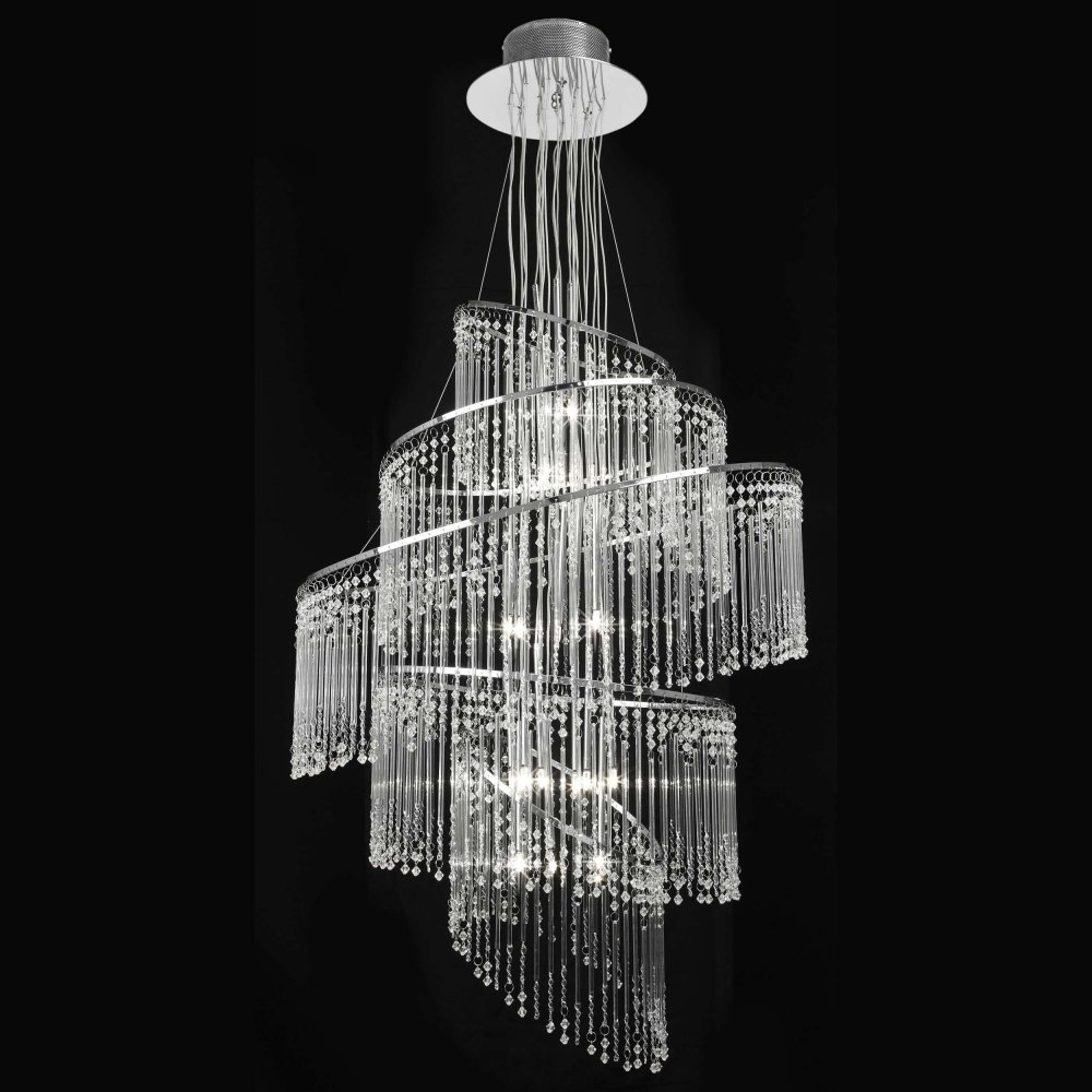 Endon Camille 24ch Camille Chandelier Endon 24 Light Chrome Pendant With Chrome And Glass Chandeliers (Image 14 of 25)