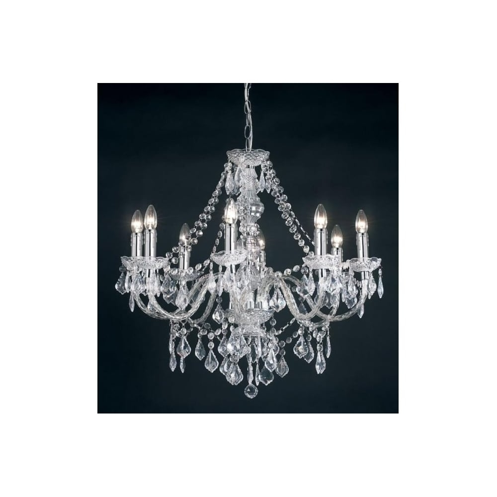 Endon Clarence 308 8cl 8 Light Pendant Light In Clear Acrylic At In Endon Lighting Chandeliers (View 9 of 25)