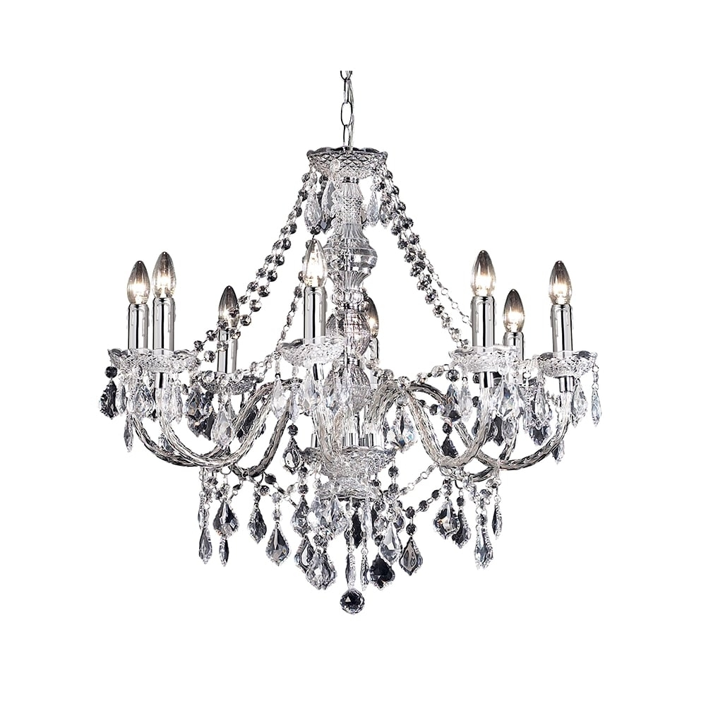 Endon Clarence 308 8cl 8 Light Pendant Light In Clear Acrylic At In Endon Lighting Chandeliers (View 7 of 25)