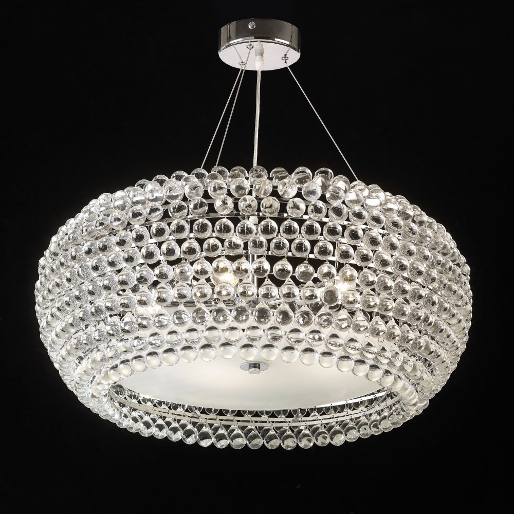 Endon Lambada 5 Light Chrome Crystal Ceiling Pendantendon Lambada 5ch With Regard To Chrome And Glass Chandeliers (Image 15 of 25)