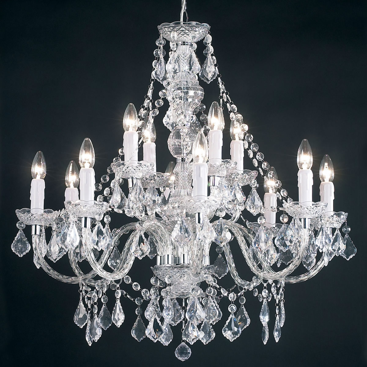 Endon Lighting 12 Light Chandelier In Clear Next Day Delivery In Endon Lighting Chandeliers (Image 10 of 25)
