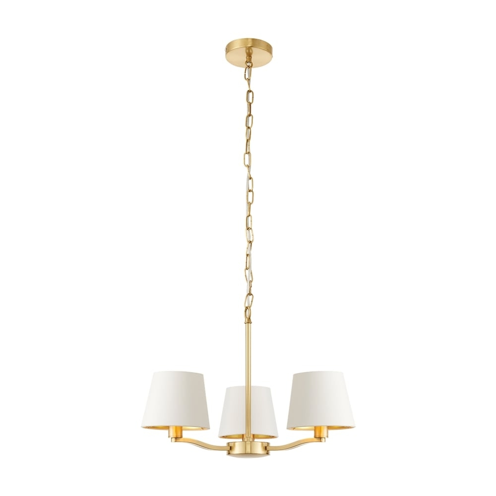 Endon Lighting Harvey 3 Light Ceiling Chandelier In Brushed Satin Throughout Endon Lighting Chandeliers (Image 12 of 25)