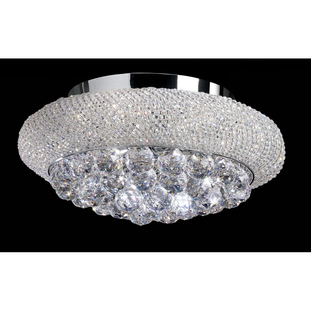 Endon Mambo 6 Light Flush Ceiling Light With Asfour Cystal Beads With Regard To Endon Lighting Chandeliers (Image 15 of 25)