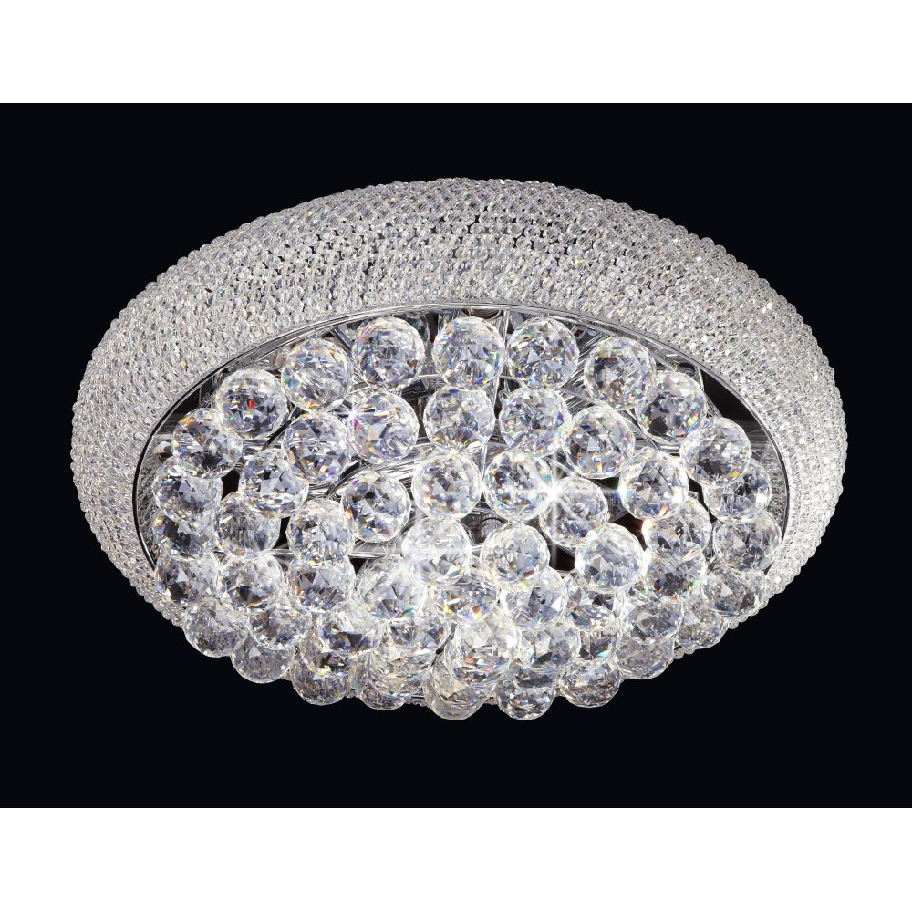 Endon Mambo 9 Light Flush Ceiling Light With Asfour Cystal Beads Within Endon Lighting Chandeliers (Image 16 of 25)