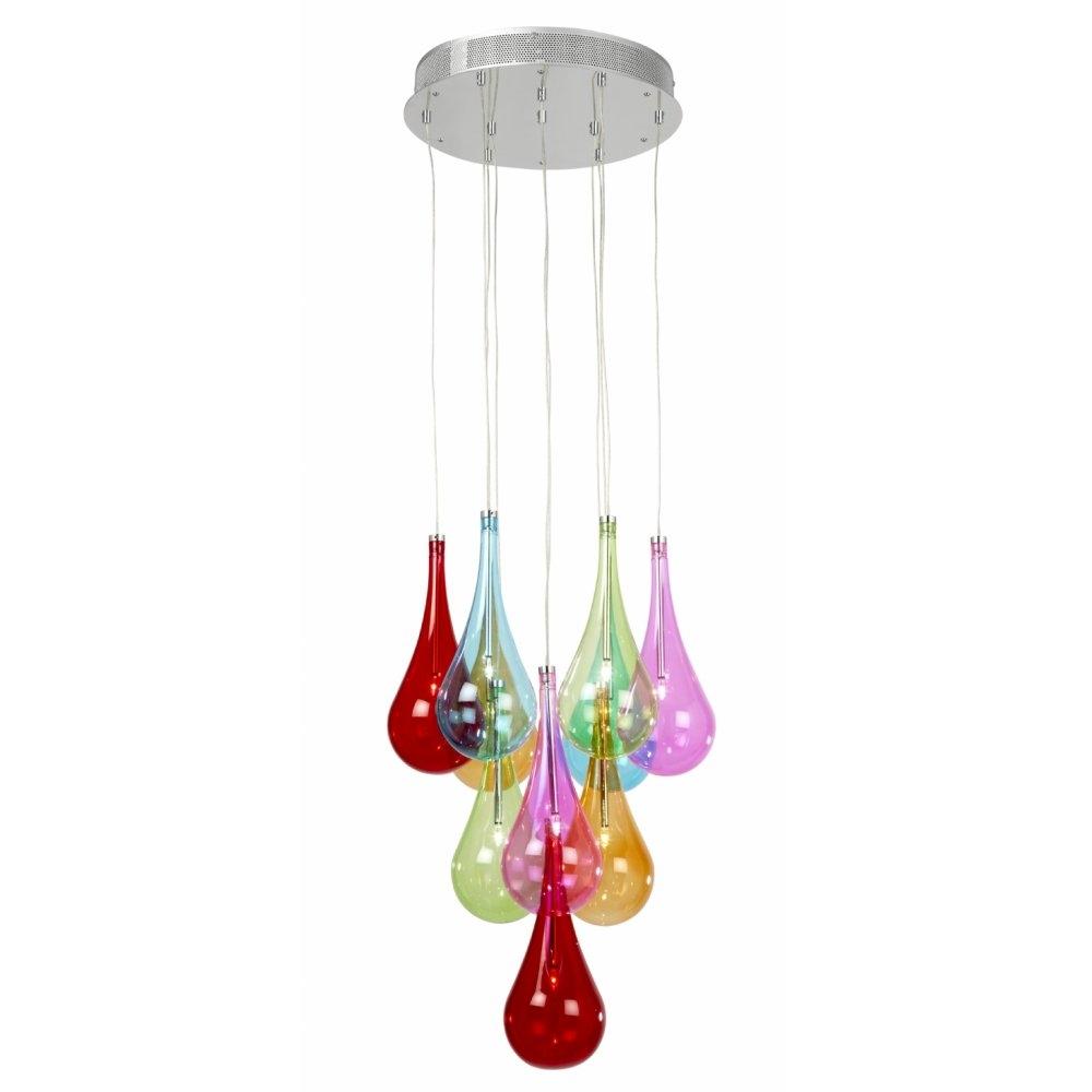 Endon Niro 10multi 10 Light Ceiling Multi Coloured Glass Pendant Light Inside Endon Lighting Chandeliers (Image 17 of 25)