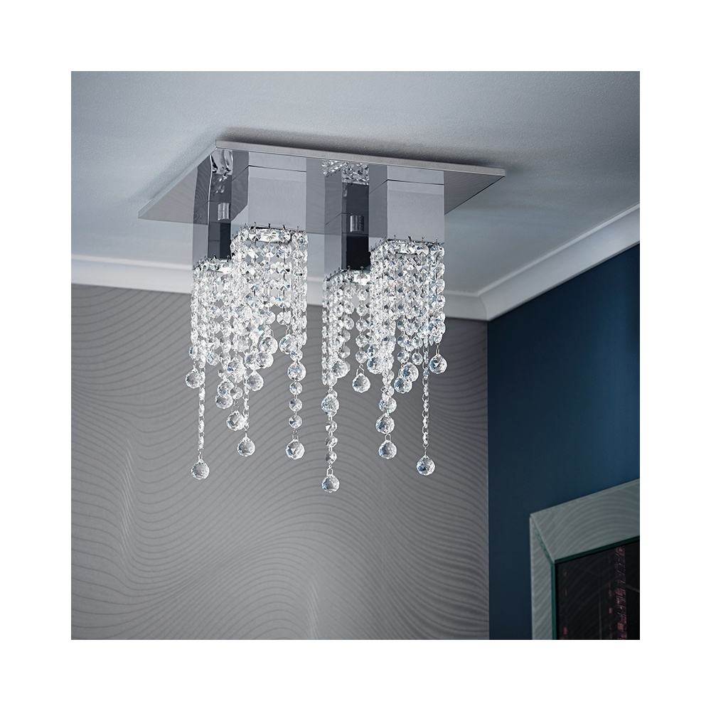Endon Senza Chrome Crystal 4 Light Fitting Endon From With Endon Lighting Chandeliers (View 24 of 25)