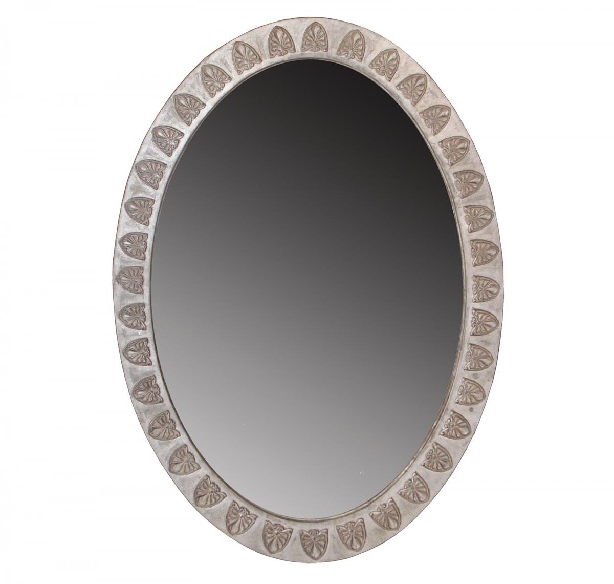 English Georgian | A53 Anthemion Oval Mirror | Hand Carved | Silver With Regard To Oval Silver Mirror (Image 6 of 20)