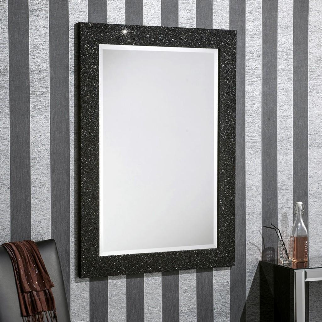 Epping Black Glitter – Buy A Mirror Uk With Regard To Glitter Frame Mirror (Image 7 of 20)