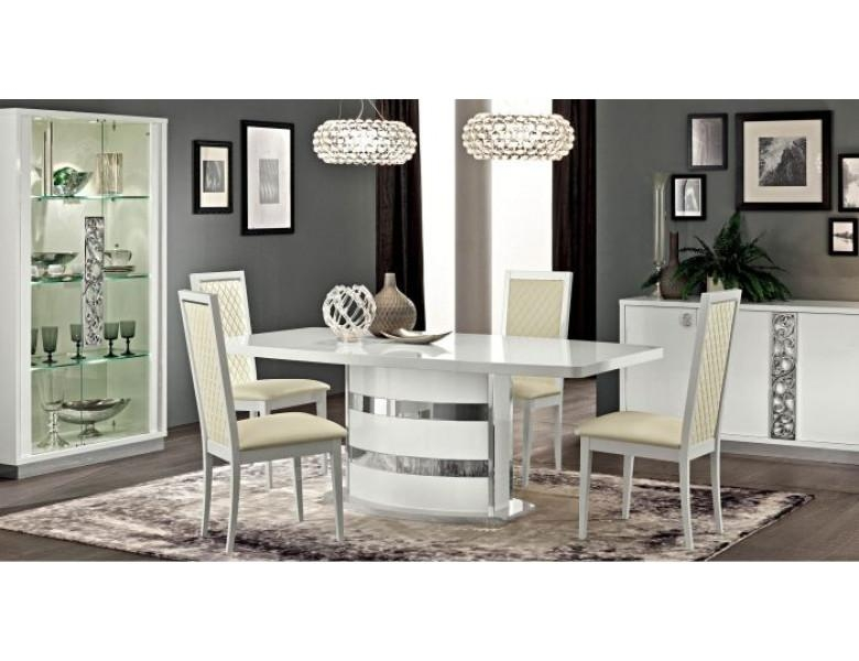 Esf Roma 7Pc Italian White Dining Set – Slick Furniture Online Store Pertaining To Roma Dining Tables And Chairs Sets (Image 6 of 20)