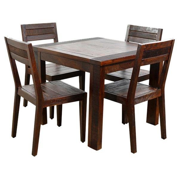 Ethnic India Art Athens 4 Seater Sheesham Wood Dining Set – Buy Intended For Sheesham Wood Dining Tables (Image 5 of 20)
