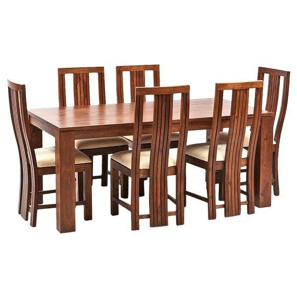 Ethnic India Art Madrid 6 Seater Sheesham Wood Dining Set With Inside Sheesham Dining Tables (Image 9 of 20)