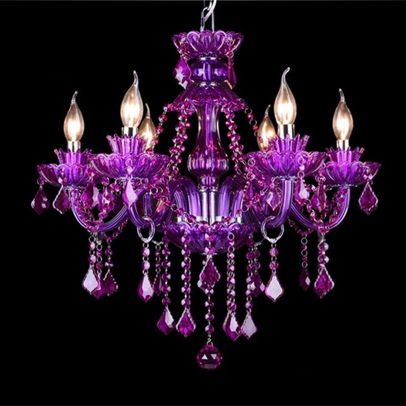 European K9 Purple Crystal Chandeliers 6810121518 Arms Throughout Purple Crystal Chandeliers (Image 11 of 25)