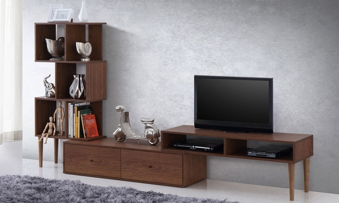 Excellent Best Dark Walnut TV Stands Within Modern Tv Stand And Display Unit Groupon Goods (Image 15 of 50)