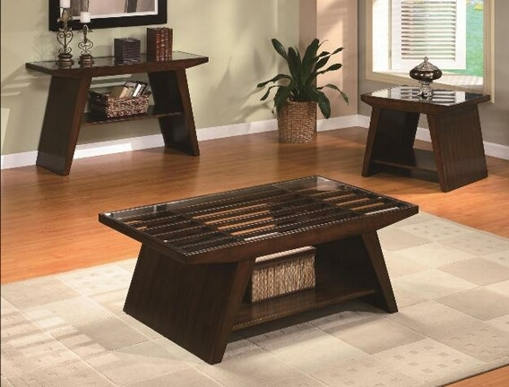Excellent Best Dark Wood Coffee Tables With Glass Top Inside Dark Wood Coffee Table Set (Image 12 of 50)