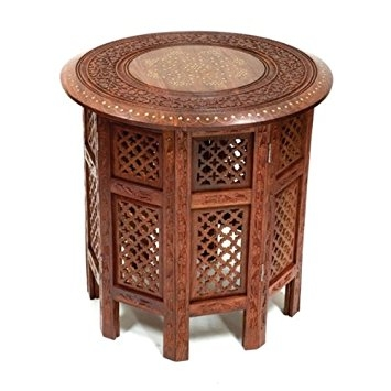 Excellent Best Indian Coffee Tables With Regard To Beautiful Round Brown 21 Sheesham Wood Side Table Brass Inlay (Image 12 of 40)
