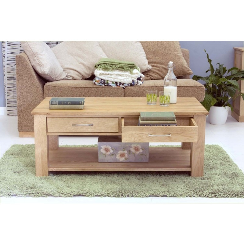 Excellent Best Light Oak Coffee Tables With Drawers Inside Modern Light Oak Four Drawer Coffee Table Coffee Tables At (View 6 of 40)