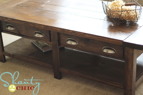 Excellent Best Rustic Coffee Table Drawers In Ana White Benchright Coffee Table Diy Projects (Image 10 of 50)