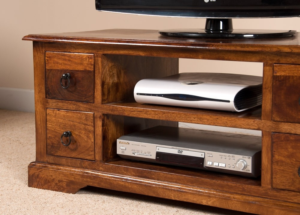 Excellent Best Sheesham Wood TV Stands With Regard To Open 42 Tv Stand Mango Wood Coffee Table Hi Fi Media Casa Bella (View 17 of 50)