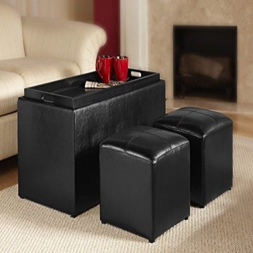 Excellent Brand New Coffee Tables With Seating And Storage Inside Storage Bench Seat 2 Ottoman Faux Leather Coffee Table Chair Home (Image 19 of 50)