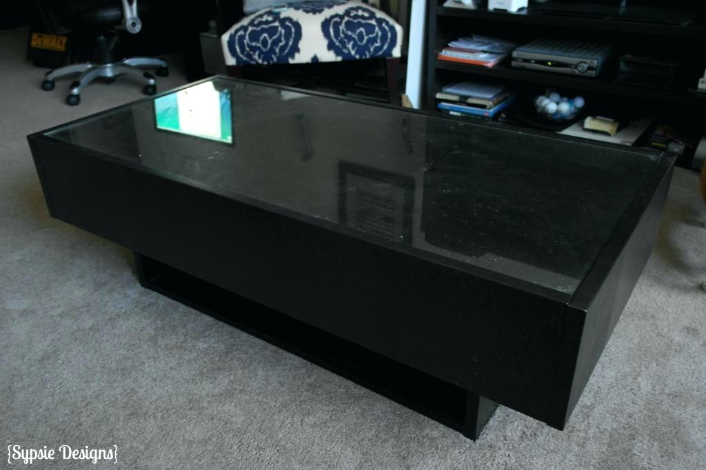 Excellent Brand New Glass Top Storage Coffee Tables Regarding Glass Top Display Coffee Table Ikea Blackbeardesignco (Image 17 of 50)