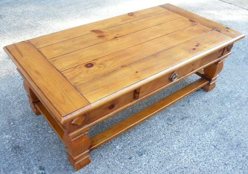 Excellent Brand New Pine Coffee Tables With Storage Pertaining To Coffee Table Large Antique Style Pine Coffee Table With Single (Image 13 of 50)