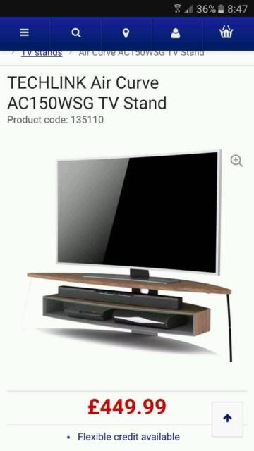 Excellent Brand New Techlink Air TV Stands With Regard To Techlink Air Curve Ac150wsg Walnut Tv Stand In Livingston West (Image 14 of 50)