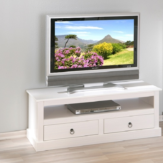 Excellent Brand New TV Stands Cabinets With Bathroom Stylish Stanley Lcd Tv Stand In White With 2 Drawers (Image 13 of 50)