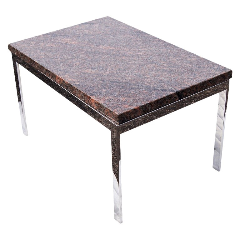 Excellent Common Chrome Coffee Tables Inside Rectangular Granite And Chrome Coffee Table For Sale At 1stdibs (Image 13 of 50)