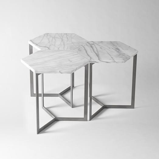 Excellent Common Coffee Tables And Side Table Sets Pertaining To Hex Side Table Steel West Elm (Image 15 of 50)