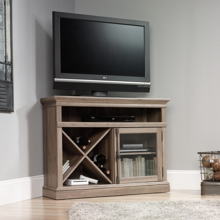 Excellent Common Corner Wooden TV Cabinets Pertaining To Furniture Barrister Corner Tv Stand And Media Unit Having Wine (View 37 of 50)