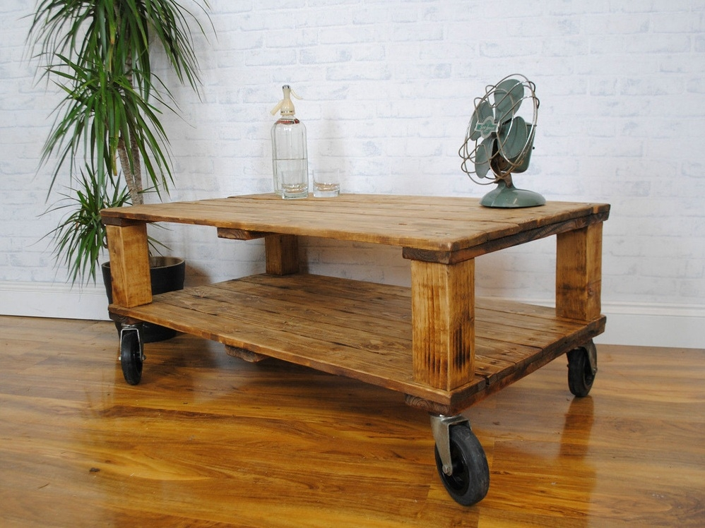 Excellent Common Rustic Coffee Table With Wheels With Impressive Rustic Coffee Table On Wheels Best Ideas About Coffee (Image 15 of 50)